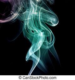 fumée, résumé, courbes, fond, vague