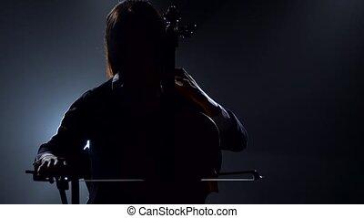 fumée, silhouette, fond, noir, violoncelle, fille nuit, jouer, studio.