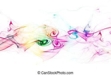 fumaça, branca, colorido, fundo