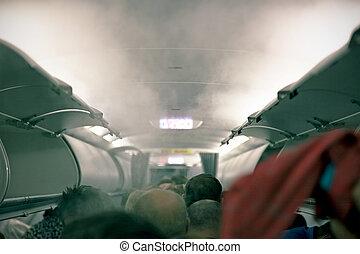 fumaça, em, a, aeronave