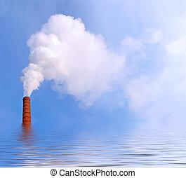fumaça, ligado, a, água