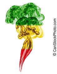 fumaça, pilar, colorido, em, bandeira, de, reggae