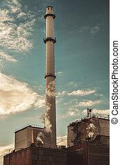 fumaça, torre, chaminé fábrica