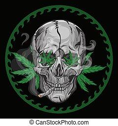 fuma, vector, fondo., negro, cráneo, graphics., marijuana
