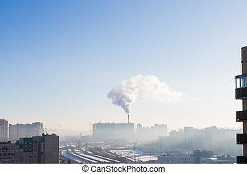 fumado, fumaça, emissões, residencial, plantas, fábricas, vista, apartamento, ecologia, paisagem, canos, poluído, urbano, edifícios., conceito, atmosfera