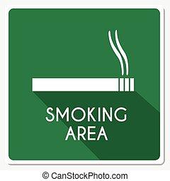 fumar, área, ilustración, señal