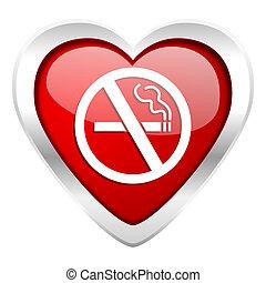 fumar, ícone, não, valentine