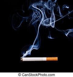 fumar, black., cigarette., isolado