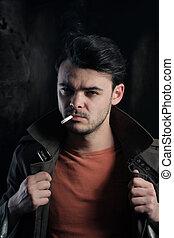 fumar, bonito, homem, cigarro