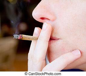 fumar, closeup, fumaça, conjunto