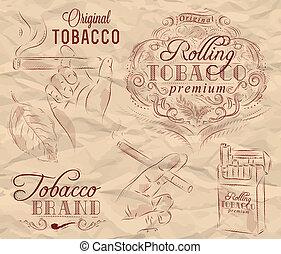 fumar, colección, tabaco