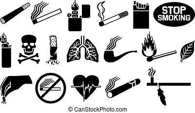 fumar, conjunto, icono
