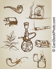 fumar, e, cigarro, ícones