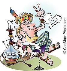 fumar, hippie, conjunto
