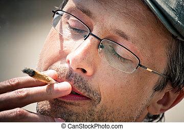 fumar, homem, conjunto, haxixe