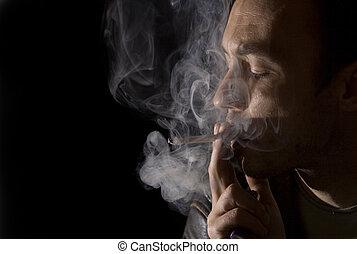 fumar, homem, jovem, cigarro
