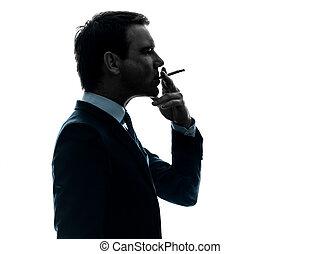 fumar, homem, silueta, cigarro