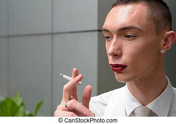 fumar, homosexual, joven, lgtb, andrógino, hombre de negocios, cigarrillo
