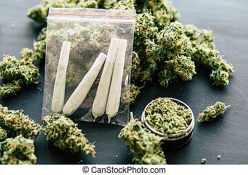 fumar, marijuana, fondo oscuro, cicatrizarse, punta la...