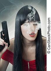 fumar, mau, menina