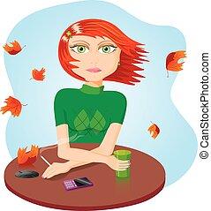 fumar, menina, vetorial, ilustração, triste