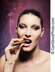 fumar, mulher, jovem, charuto, atraente
