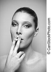 fumar, mulher, jovem, cigarro