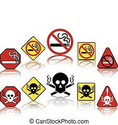 fumar, não, ícones
