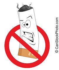 fumar, não, caricatura, sinal