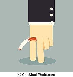fumar, não, negócio, mão