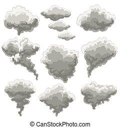 fumar, nevoeiro, nuvens, caricatura