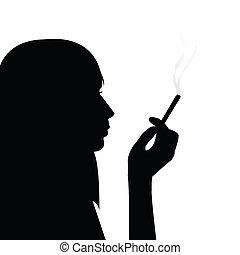 fumar, niña, silueta, negro