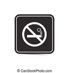 fumar, no, ilustración, señal