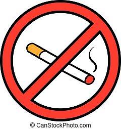 Fumar,  no, insignia, caricatura, icono