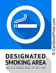 fumar, pegatina, etiqueta, área