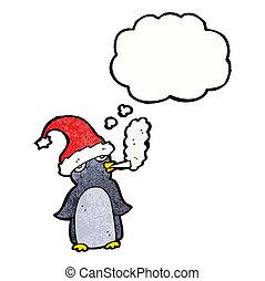 fumar, pingüino, caricatura, cigarrillo