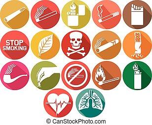 fumar, plano, iconos, conjunto