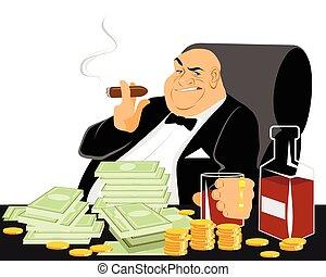 fumar, rico, hombre