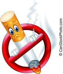 Fumar, símbolo, caricatura,  no