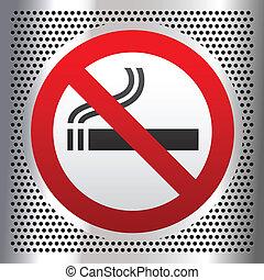 fumar, símbolo, cromo, fundo, não