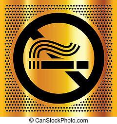 fumar, símbolo, fundo, ouro, não