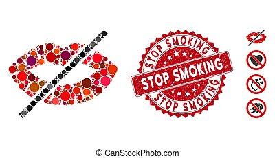 fumar, selo, grunge, beijo, não, mosaico, ícone, parada