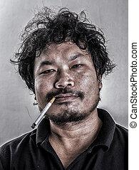 fumar, style), (retro, hombre