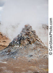 fumarole, feld, in, namafjall, geothermisch, bereich