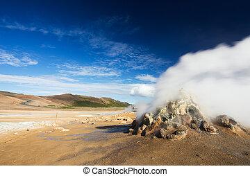 fumarole, feld, in, namafjall, geothermisch, bereich, hverir, island