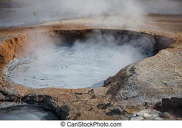 fumarole, feld, in, namafjall, geothermisch, bereich, island