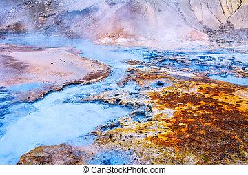 Fumarole field in Namafjall, Iceland. Geothermal beauty...