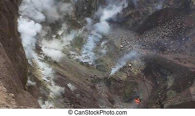 Fumaroles and molten lava in Telica volcano crater,...