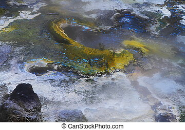 Colorful fumaroles in geyser valley in Rotorua, New Zealand