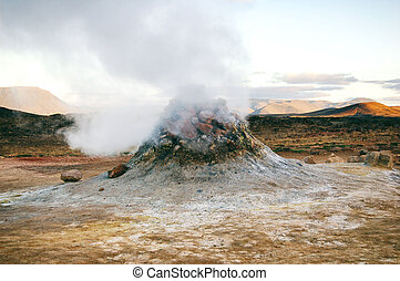 Fumaroles in Namafjall Hverir geothermal area in Iceland